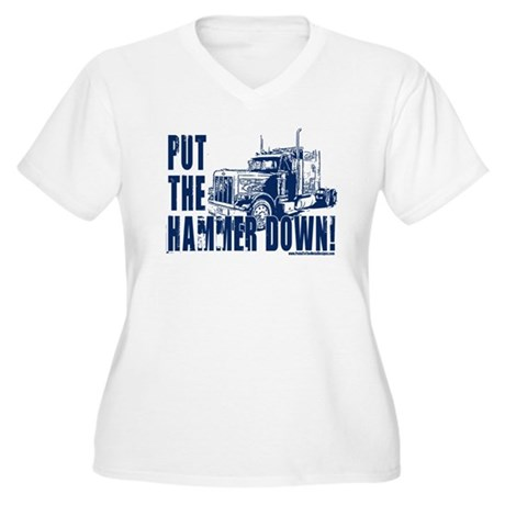 Trucker-Hammer Down-Blue Women's Plus Size V-Neck 