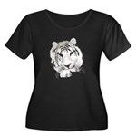 White Tiger Women's Plus Size Scoop Neck Dark T-Sh