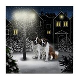 SAINT BERNARD DOGS SNOW CITY Tile Coaster