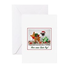 Here comes Santa Pug Greeting Cards (Pk of 20)