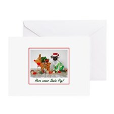 Here Comes Santa Pug Greeting Cards (Pk of 10)