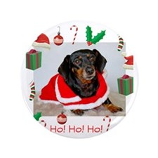 "Dachshund Santa 3.5"" Button"