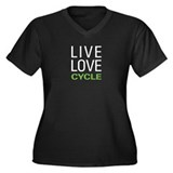Live Love Cycle Women's Plus Size V-Neck Dark T-Sh
