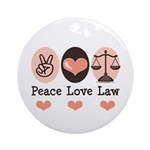 Peace Love Law School Lawyer Ornament (Round)
