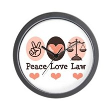 Peace Love Law School Lawyer Wall Clock