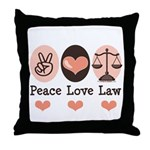 Peace Love Law School Lawyer Throw Pillow
