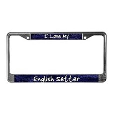 Funky Love English Setter License Plate Frame