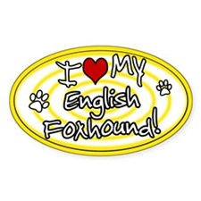Hypno I Love My English Foxhound Sticker Ylw