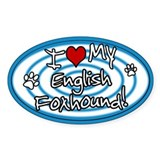 Hypno I Love My English Foxhound Sticker Blue