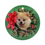 Pomeranian Christmas Wreath Ornament (Round)