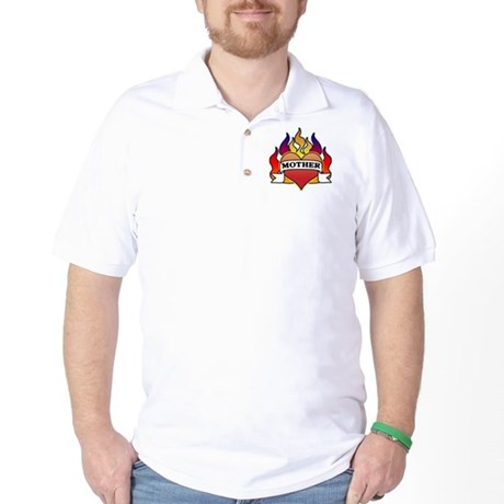 Mother Heart Tattoo Golf Shirt