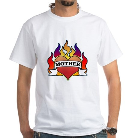 Mother Heart Tattoo White T-Shirt