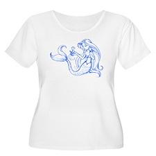 Blue Sketchy Mermaid w/ Seahorse T-Shirt