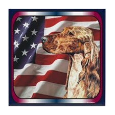Irish Setter Dog Patriotic USA Flag Tile Coaster