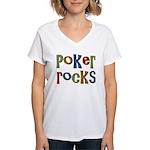 Poker Rocks Cards Texas Holdem Women's V-Neck T-Sh