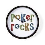 Poker Rocks Cards Texas Holdem Wall Clock