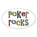 Poker Rocks Cards Texas Holdem Oval Sticker