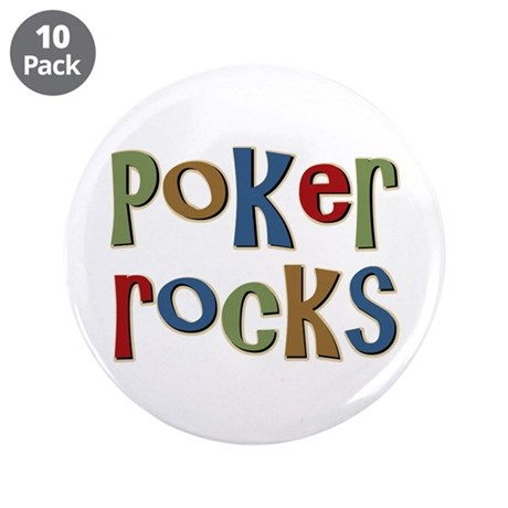 "Poker Rocks Cards Texas Holdem 3.5"" Button (10 pac"