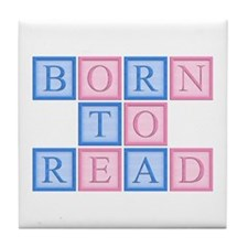 Born to Read Blocks Tile Coaster