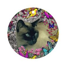 Stella Cat Butterflies Ornament (Round)