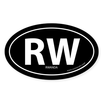 Rwanda country bumper sticker -Black (Oval)