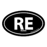 Reunion country bumper sticker -Black (Oval)