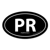 Puerto Rico PR bumper sticker -Black (Oval)
