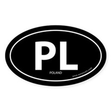 Poland PL country bumper sticker -Black (Oval)