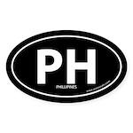 Phillipines PH bumper sticker -Black (Oval)