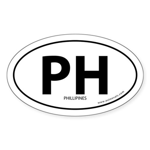Phillipines PH bumper sticker -White (Oval)
