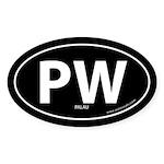 Palau country bumper sticker -Black (Oval)