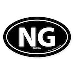 Nigeria country bumper sticker -Black (Oval)