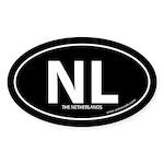 Netherlands country bumper sticker -Black (Oval)