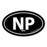 Nepal country bumper sticker -Black (Oval)