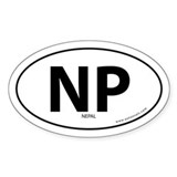 Nepal country bumper sticker -White (Oval)