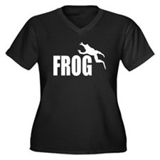 Frog shirts Women's Plus Size V-Neck Dark T-Shirt
