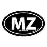 Mozambique country bumper sticker -Black (Oval)