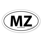 Mozambique country bumper sticker -White (Oval)