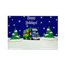 Semi Truck Happy Holidays Rectangle Magnet (100 pa