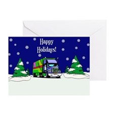 Semi Truck Happy Holidays Greeting Cards (Pk of 20