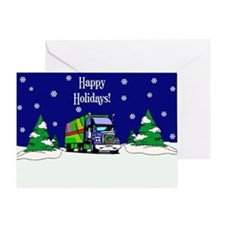 Semi Truck Happy Holidays Greeting Card