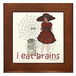 I Eat brains Framed Tile