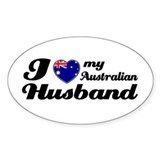 I love my Australian husband Oval Stickers