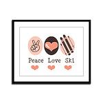 Peace Love Ski Skiing Framed Panel Print