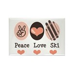 Peace Love Ski Skiing Rectangle Magnet (10 pack)