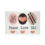 Peace Love Ski Skiing Rectangle Magnet (100 pack)