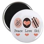 Peace Love Ski Skiing Magnet