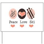 Peace Love Ski Skiing Yard Sign