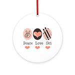 Peace Love Ski Skiing Ornament (Round)