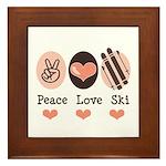 Peace Love Ski Skiing Framed Tile